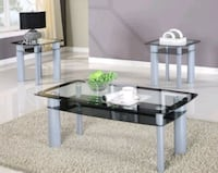 Brand New Glass Top 3 Piece table Set!39$ Down Payment Severn