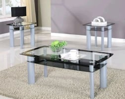 Brand New Glass Top 3 Piece table Set!39$ Down Payment
