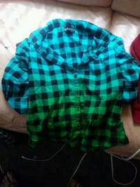 teal and black plaid dress shirt