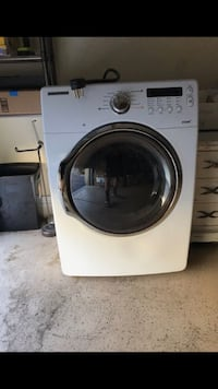 White samsung front-load clothes washer