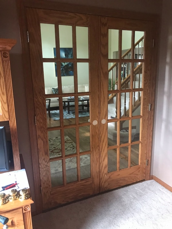 60 Oak French Doors With Frame And Trim
