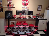 1960's diner counter with 4 stools and fibreglass counter and step up wooden base and some coke items Kelowna, V1Z 1R4