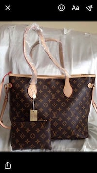 Black and brown Louis Vuitton leather two way bag