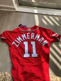 Men's Washington Nationals Majestic Alternate Scarlet Flex Base Authentic Collection Ryan Zimmerman Jersey Alexandria
