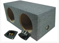 gray and black subwoofer enclosure