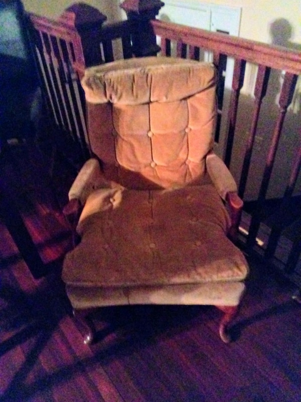brown wooden glider chair with ottoman 6f79cf40-c338-4016-adc2-d9a3087b5307