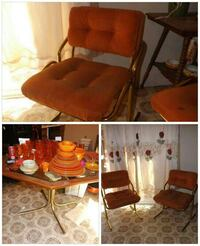 Vintage Octagon Table and 4 Orange Chairs