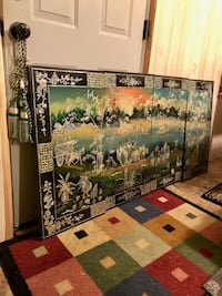 4 Panel Chinese Mural 63 inches total width by 31 inches tall Black Lacquered Ivory Inlays  Oxford, 36203