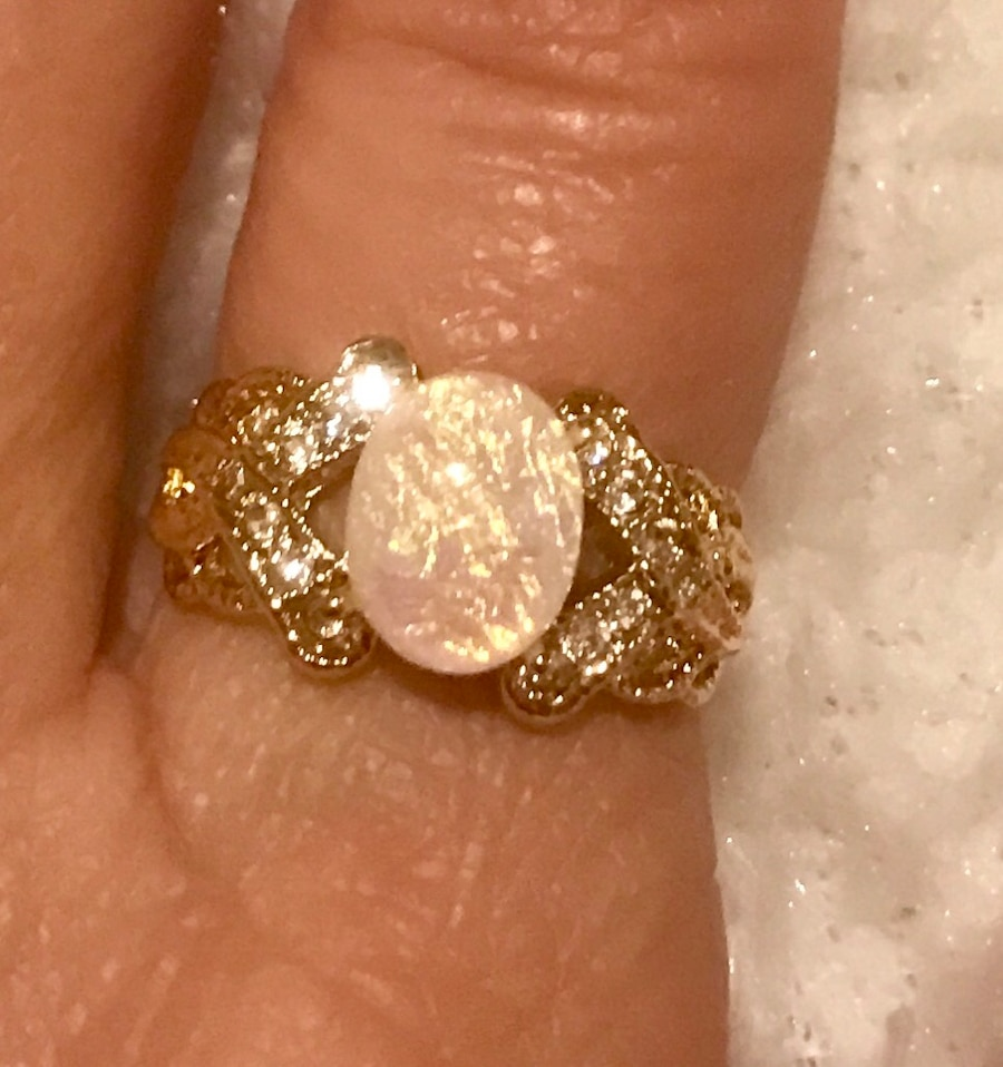 Photo 14k Gold Overlay Ring with Fire Opal Stone Size 7 or 8