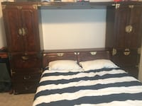 "BERNHARDT headboard/cabinets. 9'7""x6'5"" multiple pieces. 4 pieces total. Very sturdy. Bed not included. Has lighting for reading Dallas, 75287"