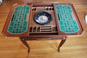 Vintage Italian Game Table & Chairs - Roulette, Inlaid Wood, Marquetry