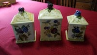 three white and green floral ceramic containers Baldwin, 21013