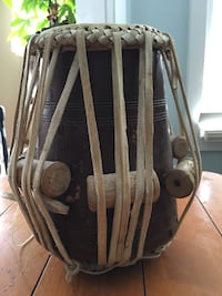 Antique drum with leather straps  Barrie, L4N 8K8