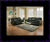 Black bonded leather sofa and loveseat Laurel