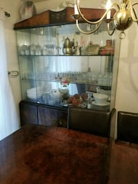 brown wooden framed glass display cabinet Lorton