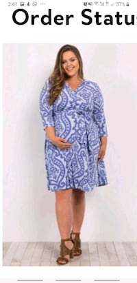 BNWOT PinkBlush Maternity Blue Damask Wrap Maternity Dress (Plus Size)
