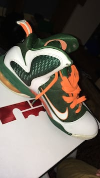 green and white unpaired nike lebron basketball shoes on box Rockville, 20850