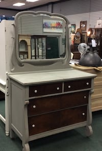 Vintage Four Drawer Dresser with Attached Mirror. Gray with Stained Drawer Fronts Heath, 43056
