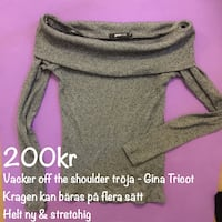GINA TRICOT off the shoulder polo krage topp grå SUPERSTRETCHIG långärmad tröja topp kläder mode trend stretchig fynd billig ny