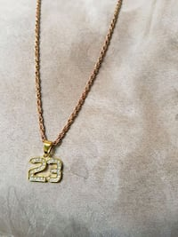 gold-colored clear gemstone Air Jordan 23 pendant necklace Regina, S4R
