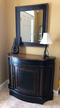 Entryway accent storage furniture with mirror