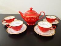 Tea Set - Teavana Ruby Filigree Bone China Tea Service AURORA