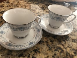 2 sets Noritake Blue Hill cups and saucers