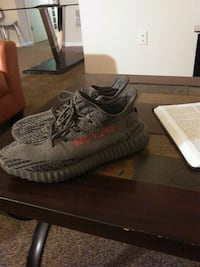 pair of gray Adidas Yeezy Boost 350 V2 with box 51 km
