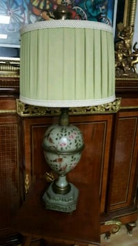 white and green floral table lamp Aurora