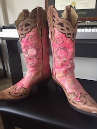 Gorgeous leather pink and brown one-of-a kind cowgirl boots. Originally purchased for $400. This is a steal!!! Worn once. Size 7 1/2 M Silver Spring, 20910