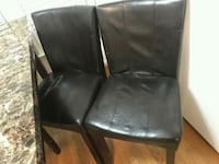 black leather padded chair with brown wooden frame Virginia Beach, 23455