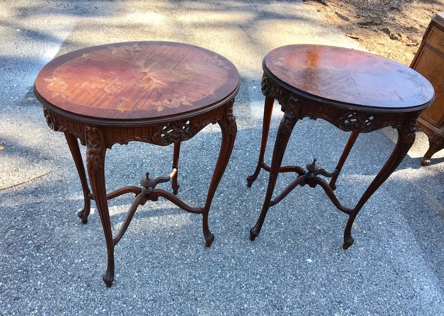Pair Of Mahogany Carved French Accent End Tables