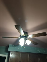 Brass and brown 5-blade ceiling fan with lights Ancaster