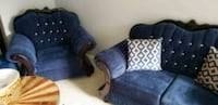 blue and white fabric sofa chair Whitby, L1R