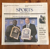 (1 COPY) PRESS TELEGRAM: TONY GWYNN ELECTED AND INDUCTED TO HOF Compton, 90221