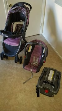 Black and purple travel system