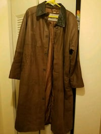 brown leather button up trench coat Gilbertsville, 19525