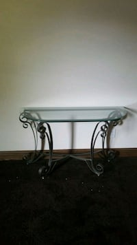 Glass and wrought iron table