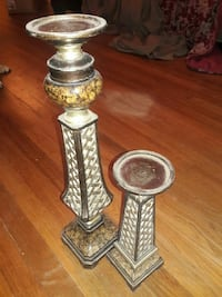two gray metal candle holders LaPlace, 70068