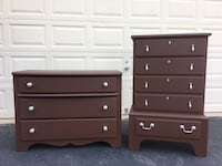 Set of 2 Solid Wood Dressers Chocolate Brown With Silver Handles  Manassas, 20112