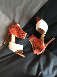 Pair of red-and-white peep toe pumps Mississauga, L5B