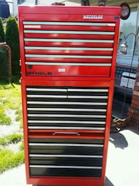 red and black tool cabinet Delta