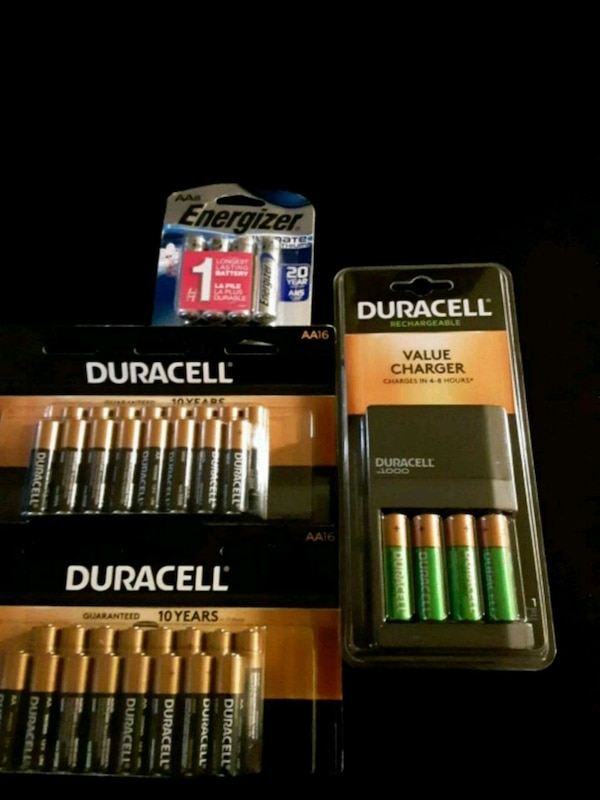 two Duracell batteries and battery charger