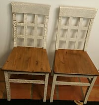 (2)PIER 1 Crackle Painted/Brown Stained Wood Dining Chairs