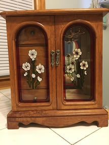 Wooden Jewelry Box with glass front doors, 4 drawers & revolving hooks
