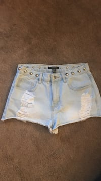 Forever 21 denim shorts with studs, size 28 but fits like a 26