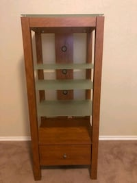 Entertainment Center with glass shelves and drawer