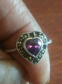 Silver and amethyst heart ring 1616 mi
