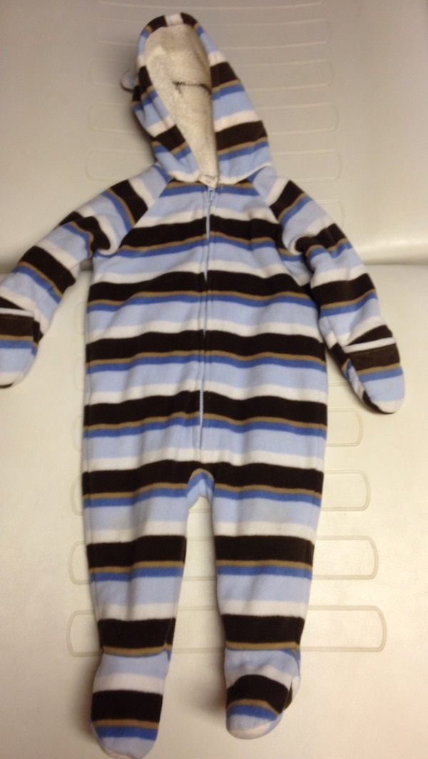White, black, blue, and brown striped hooded footie warm outfit
