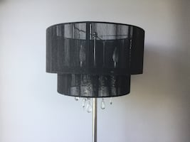 Black Sheer Shade Chrome Floor Lamp with Hanging Crystals